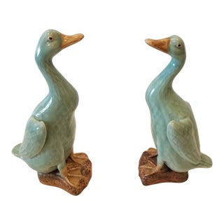 Two Celadon Glazed Birds For Sale