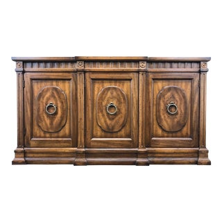 Vintage Neo-Classical Banded Pecan Breakfront Sideboard Credenza by Heritage For Sale