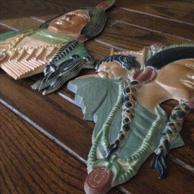 Vintage Metal Native American Wall Plaques - Pair - Image 10 of 11