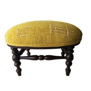 Oval Wood Footstool W/Mustard /White Mud Cloth For Sale