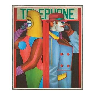 """1980s Richard Lindner """"Telephone"""" Framed Pop Art Poster For Sale"""