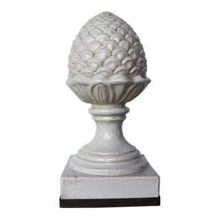 19th Century Antique Portuguese Artichoke Creamware Roof Finial For Sale