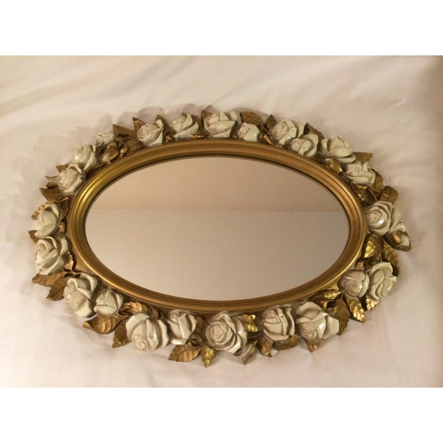 Vintgage Oval Homco Roses Ornate Mirror - Image 2 of 7