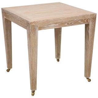 Custom Cerused Oak Table on Castors For Sale