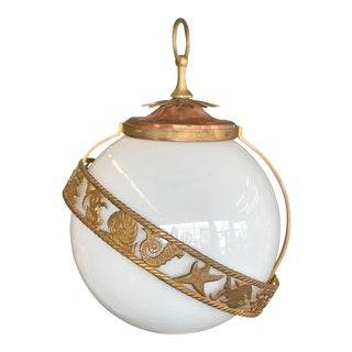 Neoclassical Nautical Hanging Globe Pendant Light 1950s For Sale
