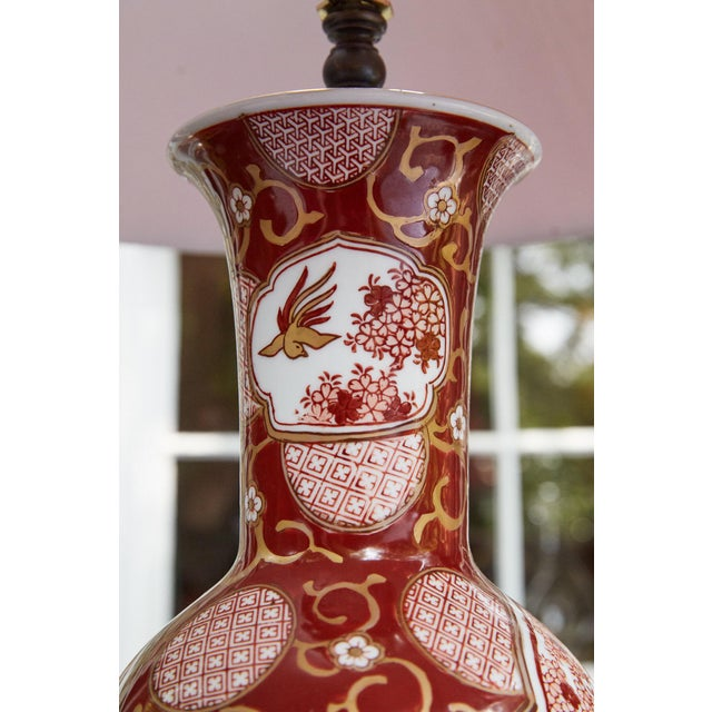 Orange Vintage Japanese Imari Lamp in Red and Gold For Sale - Image 8 of 11