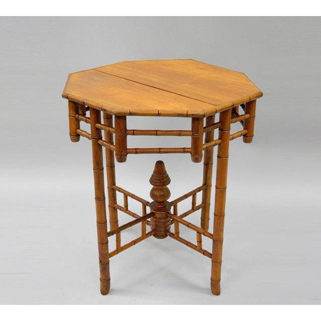 Side Table Teak.Vintage Octagonal Oriental English Victorian Style Faux Bamboo Side Table Teak Wood