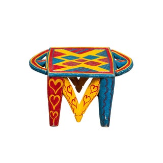 African Painted Wood Stool For Sale