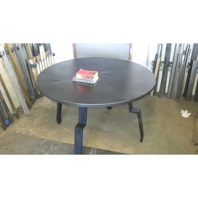 Black Round Steel Distortion Dining Table - Image 4 of 5
