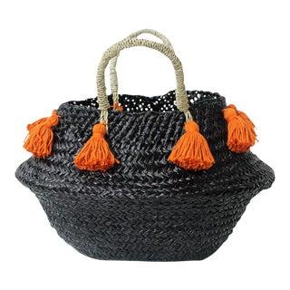 Petite Black Belly Basket - with Ginger Orange Tassels
