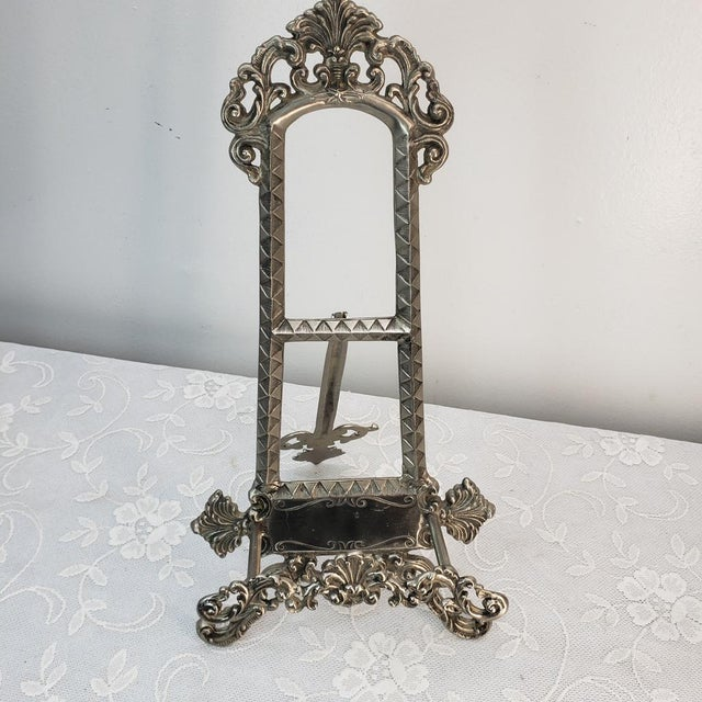 Vintage Large Silver Heavy Table Top Easel Art Prints Plates Display Holder Ornate A beautiful unique Silver Easel. Very...