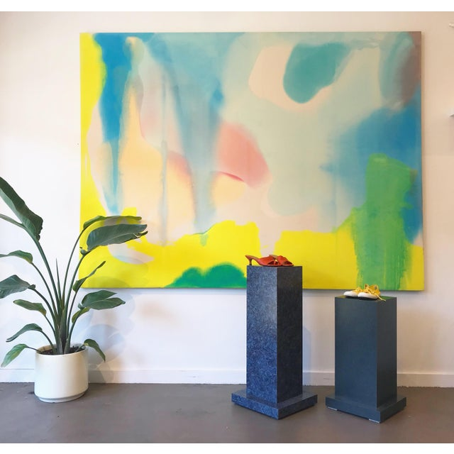 Amazing 8' by 6' oil on canvas abstract color field painting, in the manner of Helen Frankenthaler. This piece is sure to...