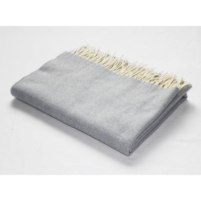 Contemporary Merino Wool Collection Light Blue Throw For Sale - Image 4 of 4
