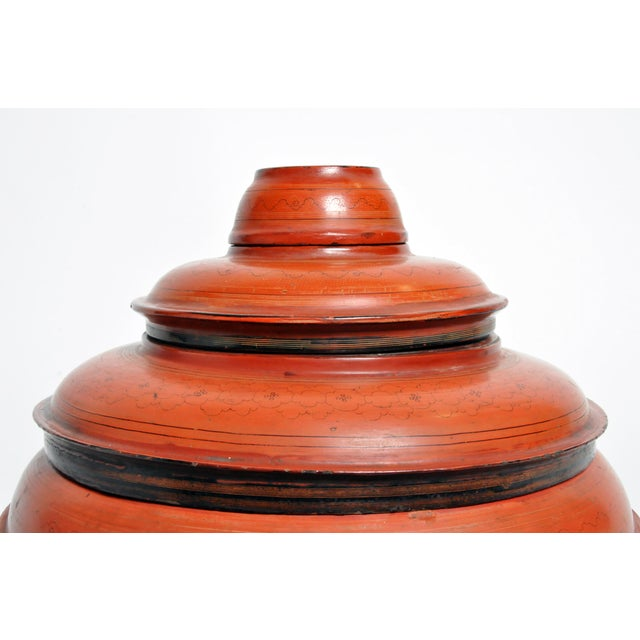 Burmese Red Lacquer Offering Urn For Sale - Image 4 of 13