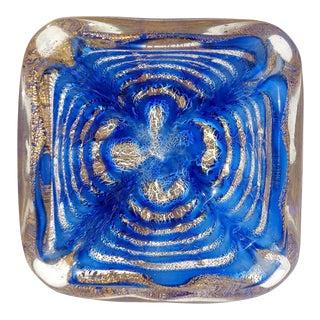 Barovier Toso Murano Vintage Cobalt Blue Gold Flecks Italian Art Glass Mid Century Bowl For Sale
