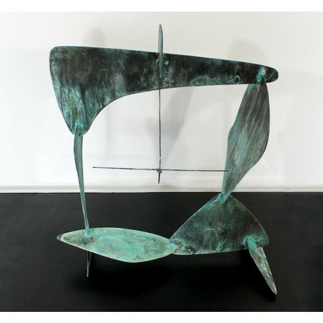 For your consideration is a wonderful, abstract, copper metal table sculpture, signed E.B.. In excellent condition. The...