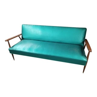Vintage Mid Century Modern Turquoise Blue Sofa Settee Milo Baughman Style For Sale