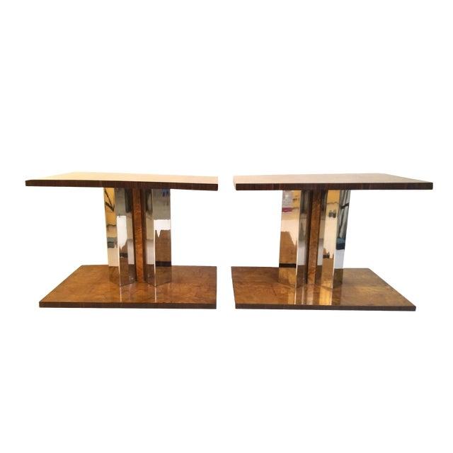 1930s Art Deco Burl Wood End Tables - a Pair For Sale
