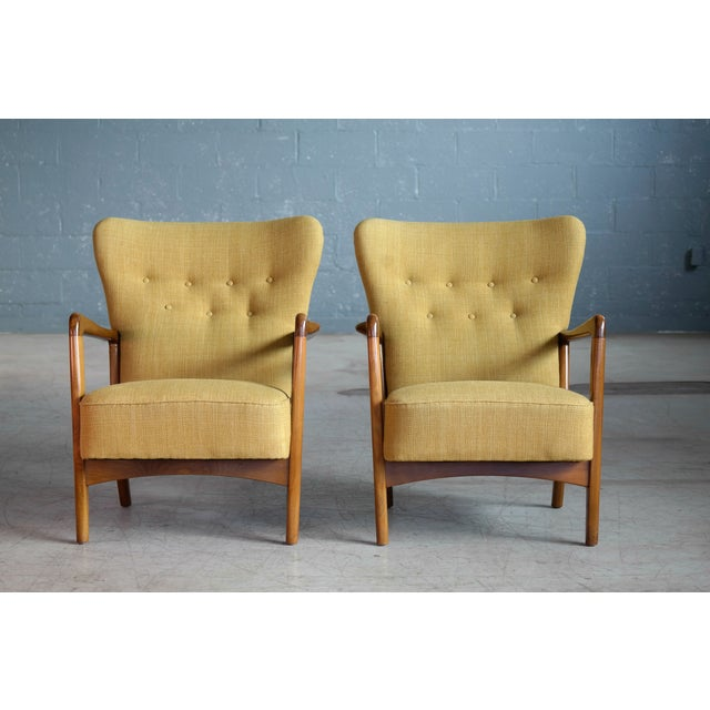 Fritz Hansen Fritz Hansen Danish Pair of Low Back Lounge Chairs With Open Armrests, 1940s For Sale - Image 4 of 13