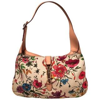 Gucci Multicolor Floral Print Canvas Jackie Shoulder Bag For Sale