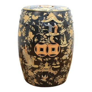 Chinoiserie Garden Stool with Landscapes For Sale
