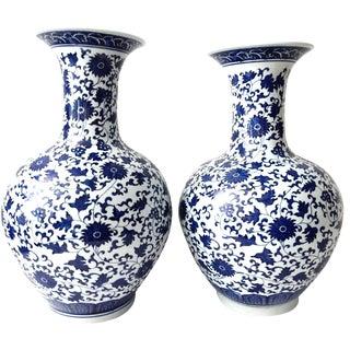 Blue & White Onion-Shape Vases - A Pair