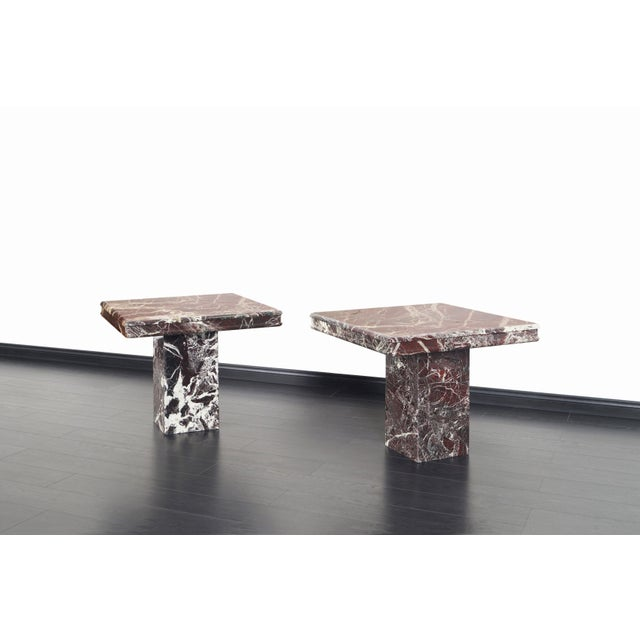 Mid-Century Modern Vintage Italian Marble Side Tables - a Pair For Sale - Image 3 of 11