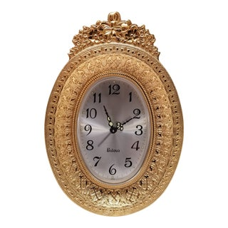 Vintage Bulova Gold Toned Oval Alarm Clock For Sale