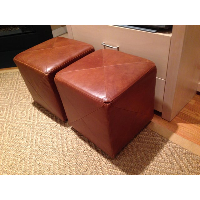 Leather Cube Ottoman - A Pair - Image 2 of 5