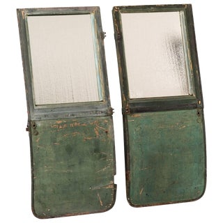 1950s English Pair of Mirrors Made From Green Carriage Doors For Sale