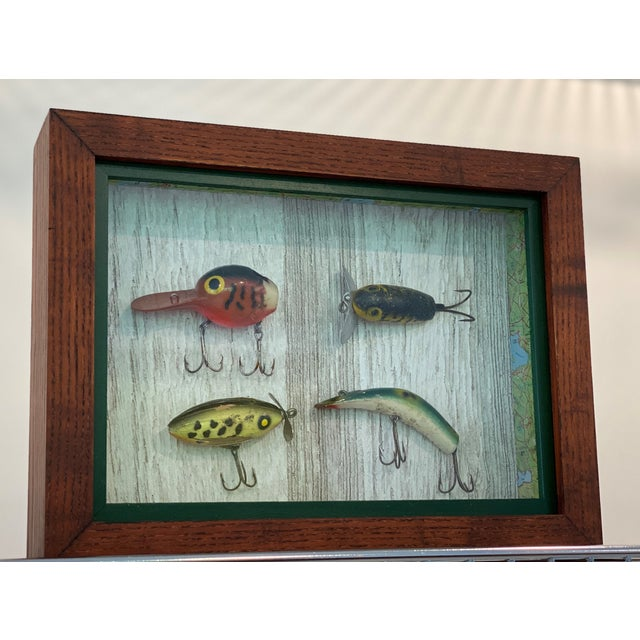 Rustic Vintage Fishing Lures in Shadow Boxes - Set of 5 For Sale - Image 3 of 6