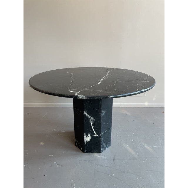 1980s Postmodern Black Pedestal Marble Dining Table For Sale - Image 5 of 6