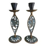 Image of 1970s Brass Candle Holders With Verdigris - A Pair For Sale