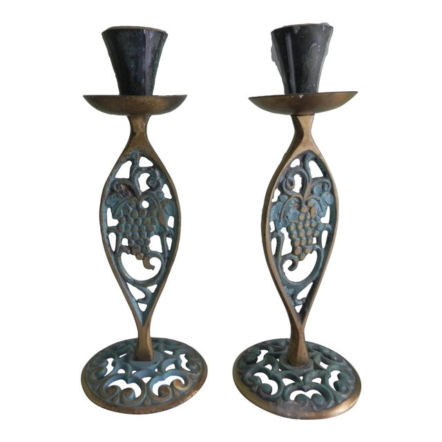 1970s Brass Candle Holders With Verdigris - A Pair For Sale