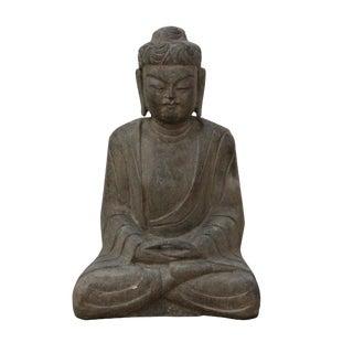 Chinese Gray Stone Carved Sitting Buddha Gautama Shakyamuni Statue For Sale