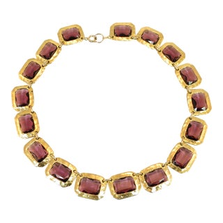 Mid-Century Modern Amethyst Glass Hand-Hammered Linked Collar Necklace 1960s For Sale