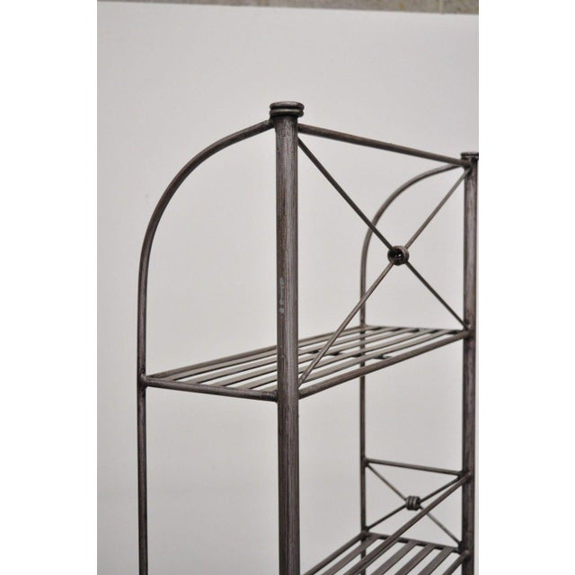 Silver Pier 1 Medici Collection Pewter Iron Bakers Rack Shelf / Bathroom Stand Etagere For Sale - Image 8 of 11