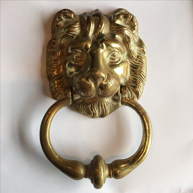 Antique Brass Lion Door Knocker - Image 2 of 6 - Antique Brass Lion Door Knocker Chairish
