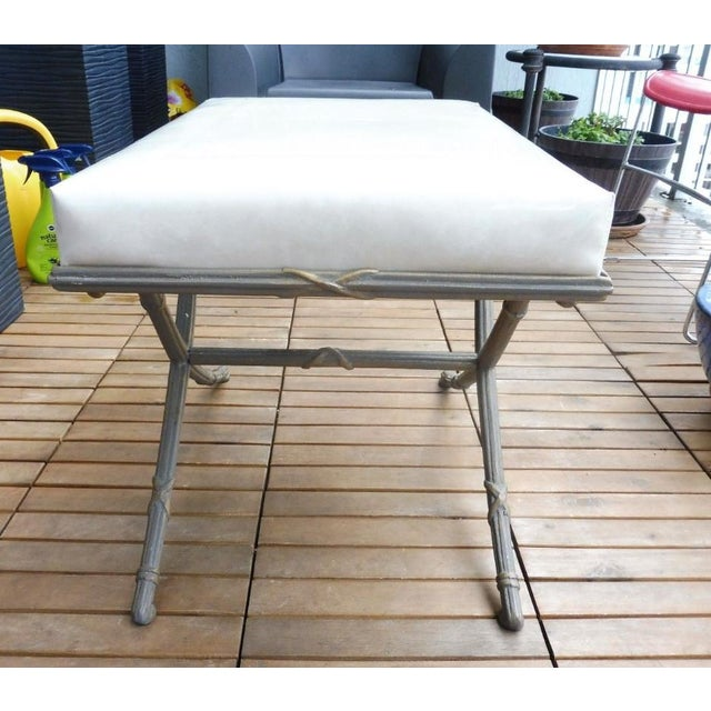 1970s 1970's Saber Leg Faux Bamboo Aluminum Bench For Sale - Image 5 of 10