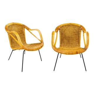 Arthur Umanoff Style Lounge Chairs - A Pair