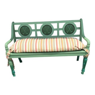 Golfer's Porch Bench in Leafy Spring Green For Sale