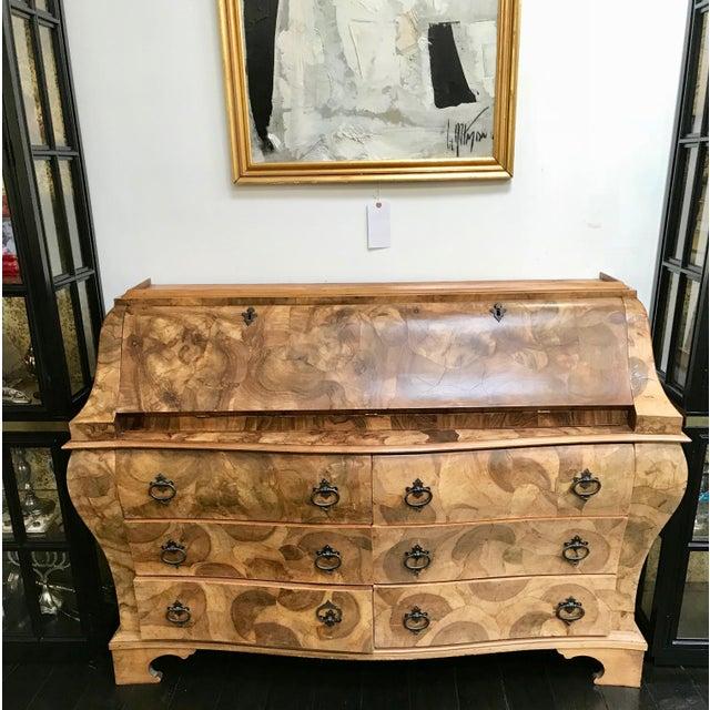 Art Deco 20th Century Italian Art Deco Burl Wood 6-Drawer Secretary. For Sale - Image 3 of 10
