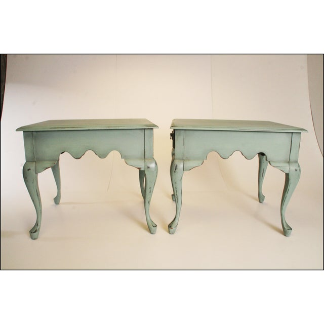 Vintage French Distressed Wood Side Tables - Pair - Image 3 of 11