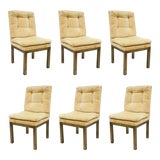 Image of John Stuart Patinated Brass Metal Base Parsons Style Dining Chairs - Set of 6 For Sale