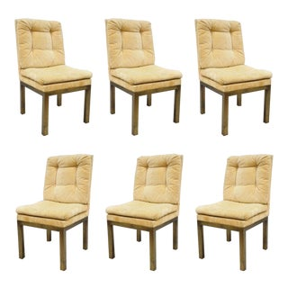 John Stuart Patinated Brass Metal Base Parsons Style Dining Chairs - Set of 6 For Sale