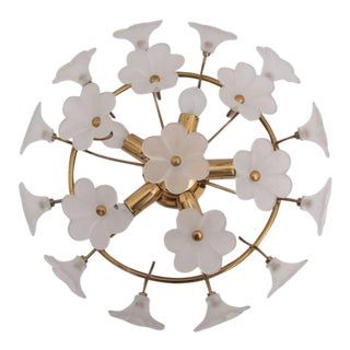 Glass Flower Flush Mount in Brass and Glass For Sale