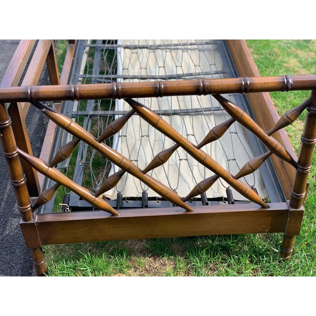 Rare 1970s faux bamboo trundle bed! Twin bed that pulls out to another twin once custom mattress or cushion is added! This...
