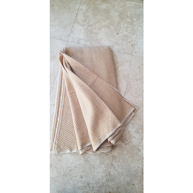 Last Ca. Yellow-Beige Cashmere Blanket For Sale - Image 4 of 7