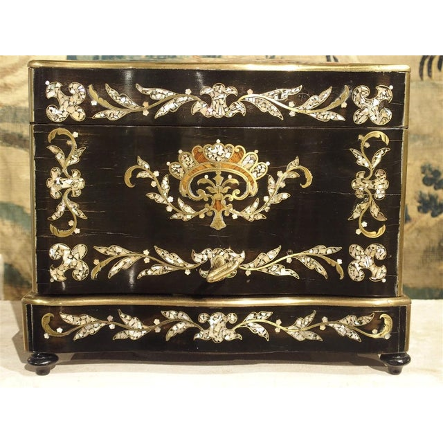 Circa 1850 Napoleon III Cave a Liqueur With Mother of Pearl, Rosewood, and Brass Inlay For Sale - Image 10 of 13