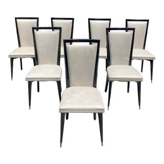 1940s Vintage French Art Deco Solid Mahogany Dining Chairs - Set of 7 For Sale
